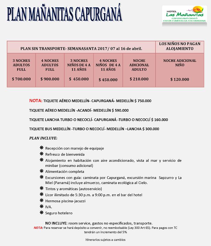 Plan Capurgana Semana Santa 2017